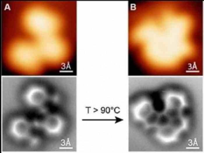 Επάνω, απεικονίσεις μιας αντίδρασης με μικροσκόπιο σήραγγας (STM)/ Στο κέντρο οι νέες εικόνες με το μικροσκόπιο ατομικής δύναμης nc-AFM